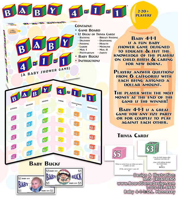 Baby 411 Board Game A Baby Shower Board Game Game For Baby Showers